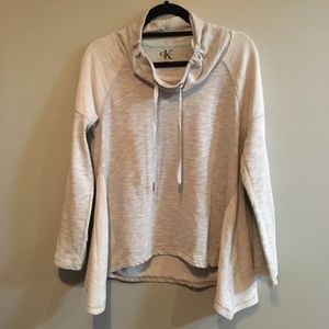 Calvin Klein light grey cowl neck hi low sweater